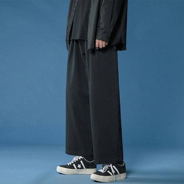 Legible 2021 Women Pant Casual Cotton Wide Leg Pants Retro Ankle Length Elastic Waist Loose Trousers Female 1