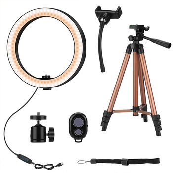 HOT-10 Inch Selfie Ring Light with 50 Inch Tripod Stand & Phone Holder for Makeup Live Stream, LED Camera Ring Light with Remote фото