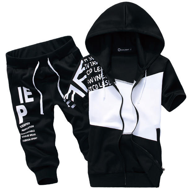 Summer Thin Short Sleeve Hoodie Suit Men Plus-sized Jogging Suits Plus-sized Hooded Cardigan Coat Sports Fashion