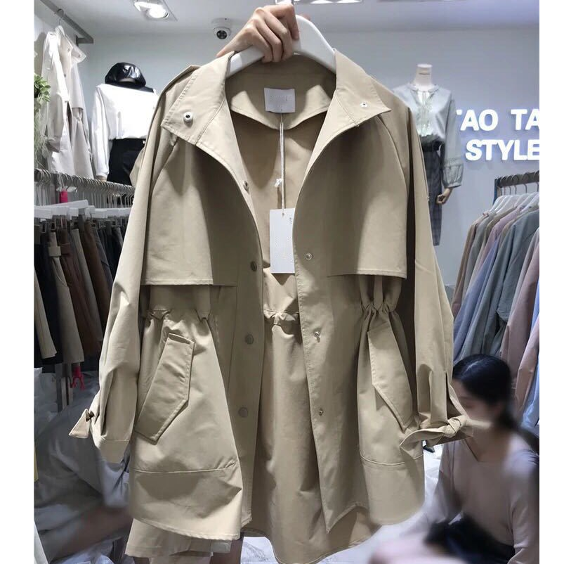 Autumn Ins Fashion Women Coat Female Pocket Solid   Trench   Windbreaker Loose Long Basic   Trench
