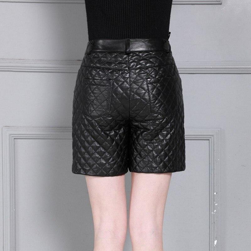 Winter Fashion Thicken Real Leather Plaid Women High Waist Slim Fit Wide Leg Shorts Top Quality Sheepskin Plus Size S-4XL