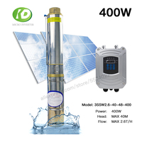 400W 3INCH DC 48V Home Solar Deep Well Water Pump Submersible Water Pump Brushless 2.6T/H 40M Head With Free Controller