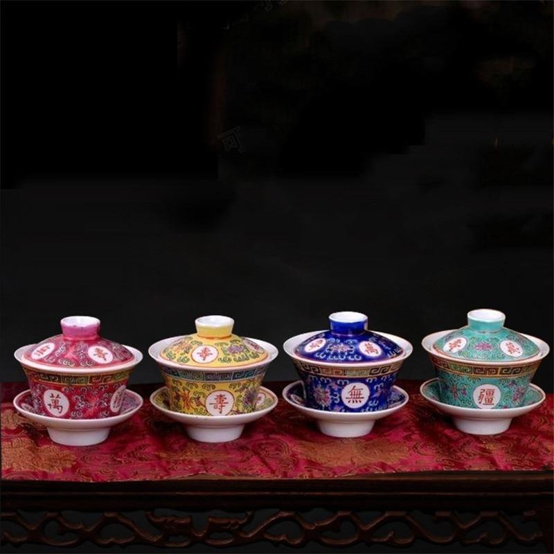 WSHYUFEI Jingdezhen Porcelain Gaiwan Exquisite Pastel Tea Bowl With Saucer Lid Kit Master Cup Teaware Drinkware 150ml