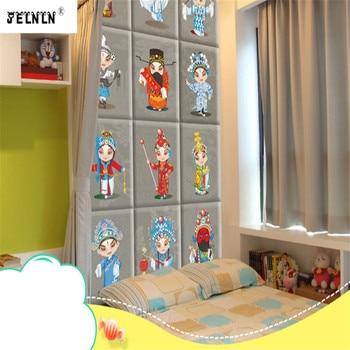 Chinese Peking Opera Mask Pattern Tatami Soft Wall  Bedside Cartoon Pattern Soft Bag Bedroom Background  Wall Sticker Soft Bag