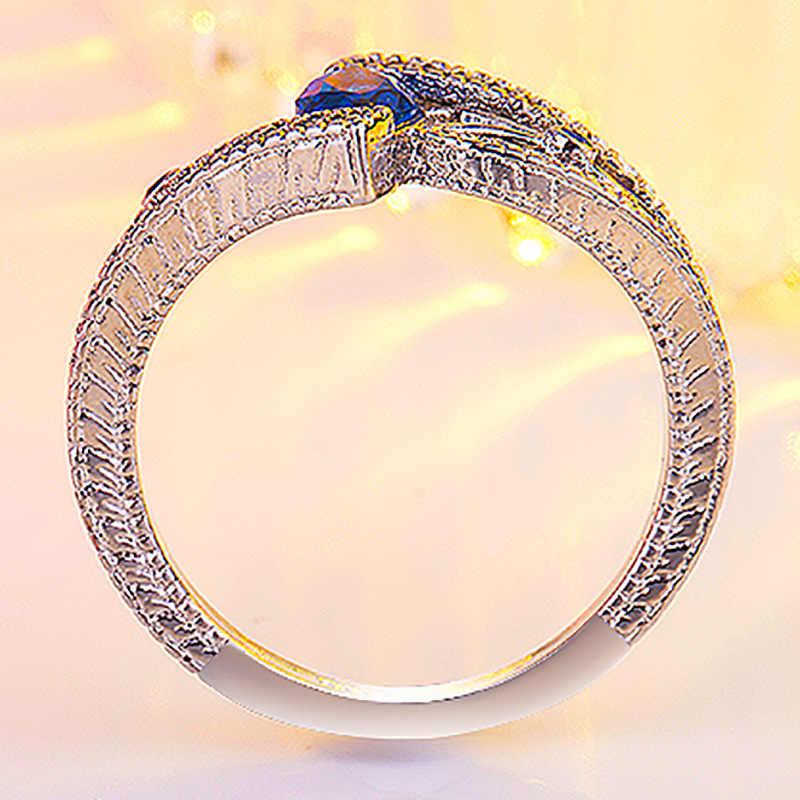 3 farben Damen 925 anillos Silber Finger Ring stein engagement ring Für frauen Steine Blau/Rot/Grün zirkon schmuck