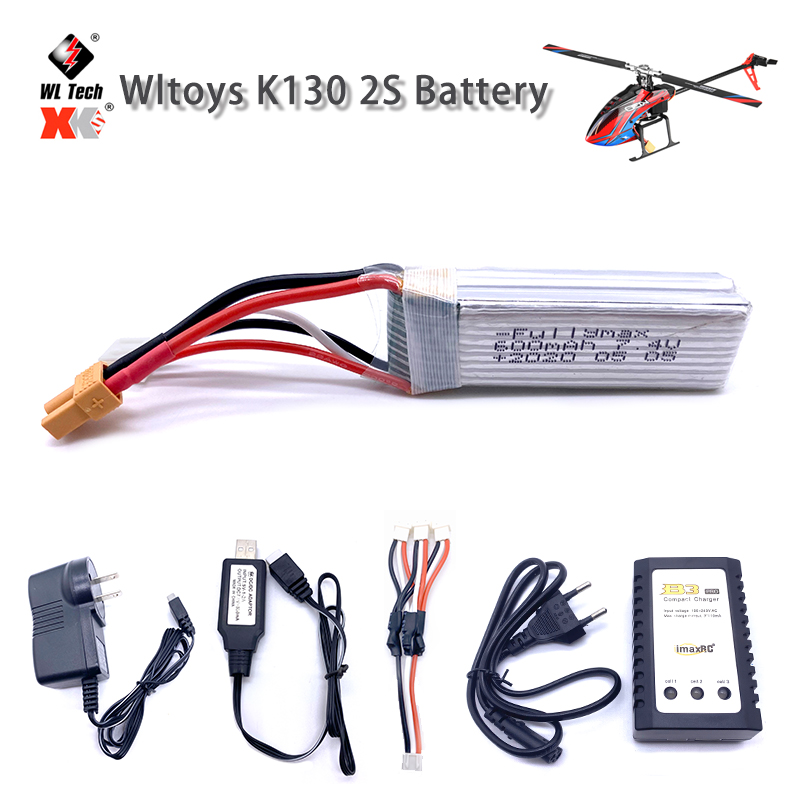 Wltoys XK K130 <font><b>Lipo</b></font> <font><b>Battery</b></font> <font><b>7.4V</b></font> <font><b>600mAh</b></font> 2S <font><b>Battery</b></font> For RC Helicopter Drone Spare Parts Accessories XT30 Plug <font><b>Lipo</b></font> <font><b>Battery</b></font> image