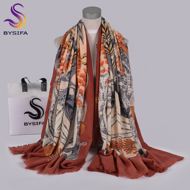 [BYSIFA] Rusty Red Women Pure Wool Scarves Pashmina Top Grade Brand 100% Wool Neck Scarf Winter Ladies Long Scarf Shawl210*100cm