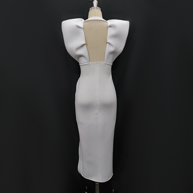 White Dresses Party Sexy Deep V Neck High Waist Slit Bodycon Ruffles Backless Event Occassion Women Celebrate Evening Night Robe 5