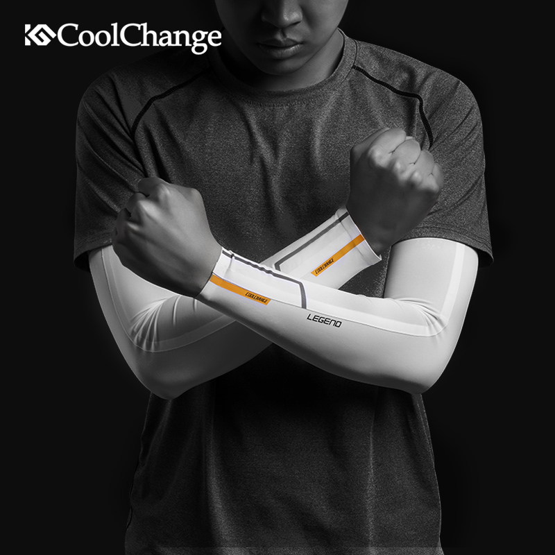 CoolChange Ice Fabric Summer UV Protection Running Arm Sleeves Breathable Basketball Fitness Sport Cycling Outdoor Warmers