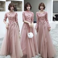 Bridesmaid Dresses Pink Chiffon Appliques A-Line Long Weddin