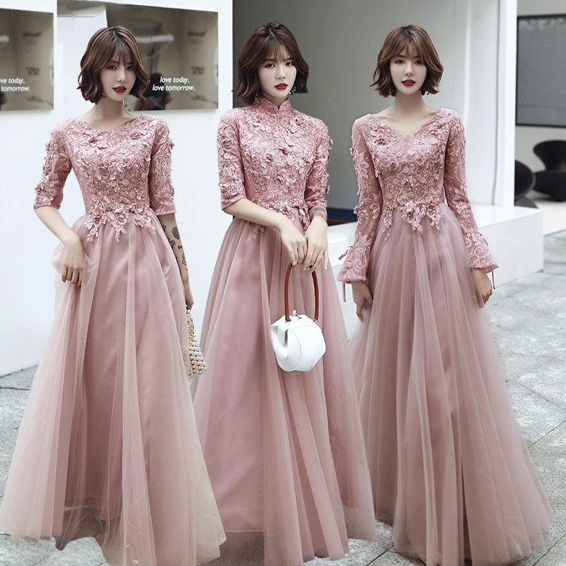 Bridesmaid Dresses Pink Chiffon Appliques A-Line Long Wedding Pageant Vestido O-Neck Half Sleeve Formal Wedding Party Dress R008