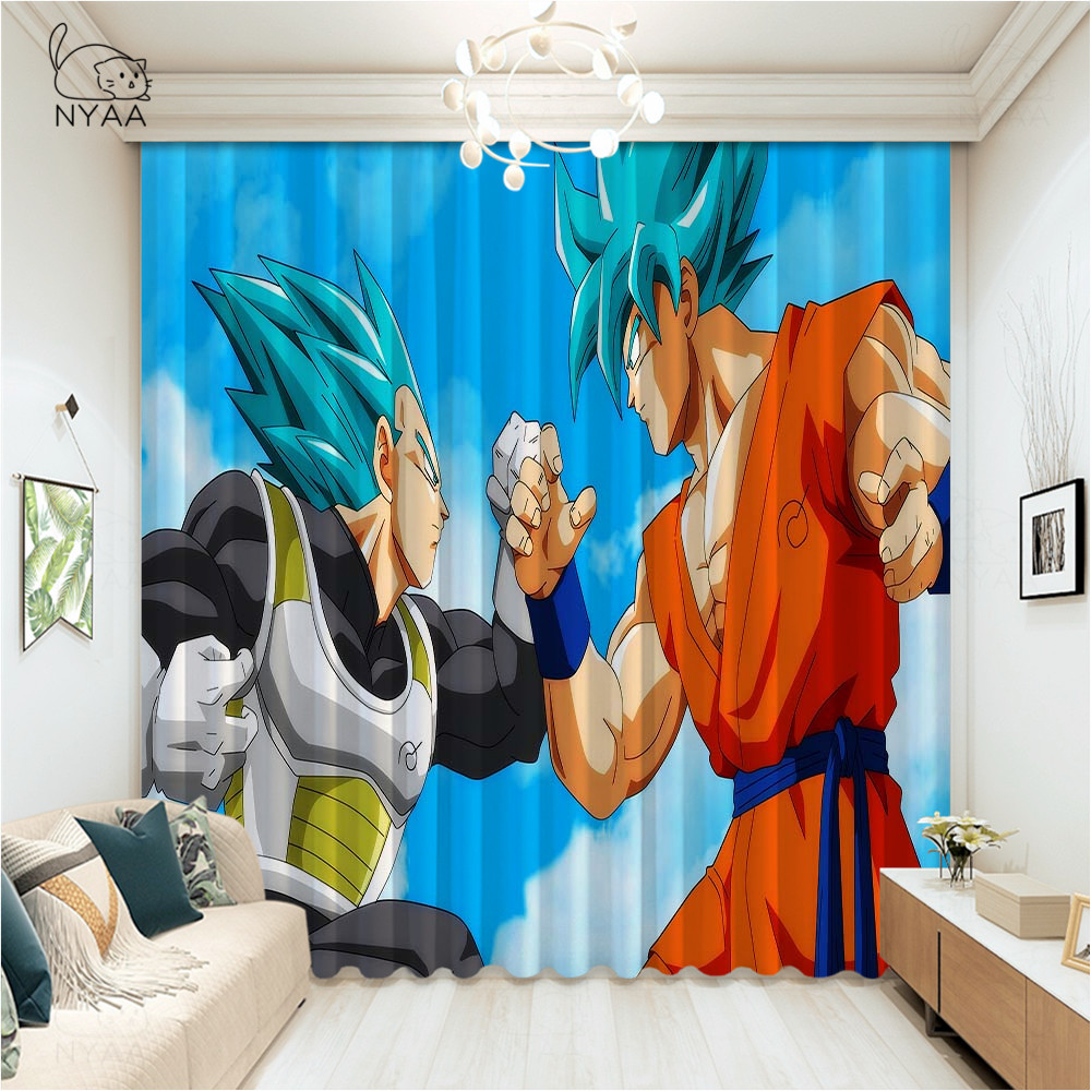 Dragon Ball One Piece Japanese Anime Curtain Block Out Darkening Thermal Insulated Curtain Living Room Ultra-thin Micro Shading image