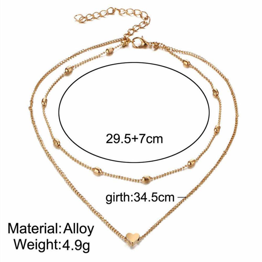 Vintage wielowarstwowa kryształ wisiorek naszyjnik kobiety koraliki w kolorze złotym serca róg Crescent Choker naszyjniki złoty Dot naszyjnik kobiety