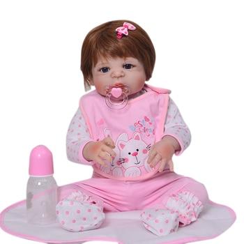 Lifelike Silicone Reborn Baby Menina  23'' Newborn Baby Dolls Full Vinyl body Wear bebe Infant Clothes Truly Kids Playmates