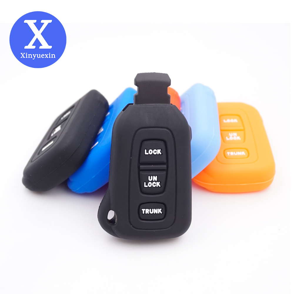 Xinyuexin Silicone Car Key Cover Shell Fob Case for Lexus LS430 2002-2006 Smart Prox Enter Car Remote Key Fob 3 Buttons