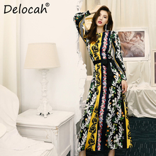 цена на Delocah Women Autumn Dress Runway Fashion Long Sleeve Floral Printed Bow Tie High Waist Elegant Vintage Holiday Maxi Dresses