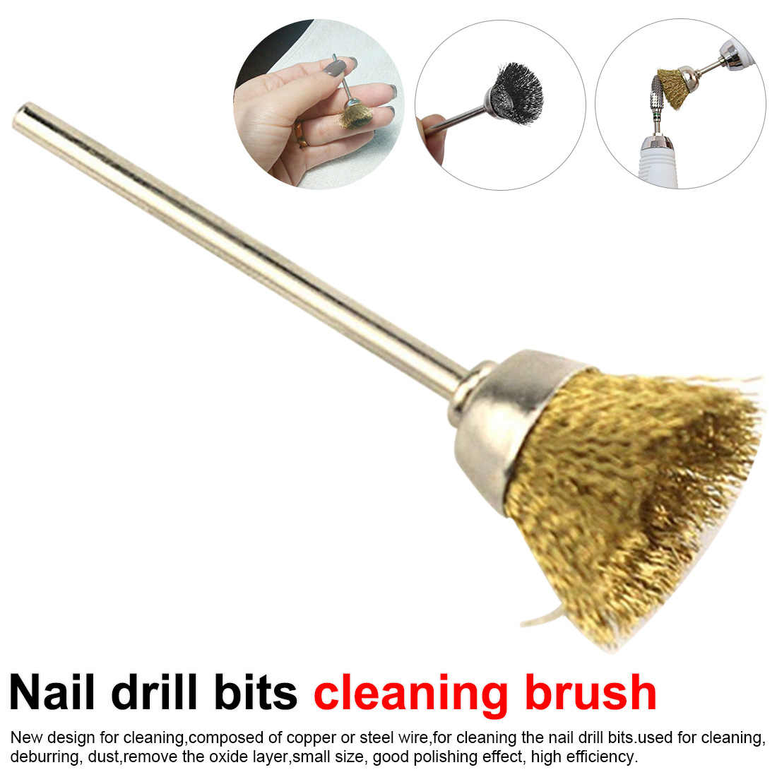 1pcs Nail Drill Bits Copper Wire/Steel Cleaning Brush Rotary Manicure Electric Drills Brush Accessories Nail Art Tool