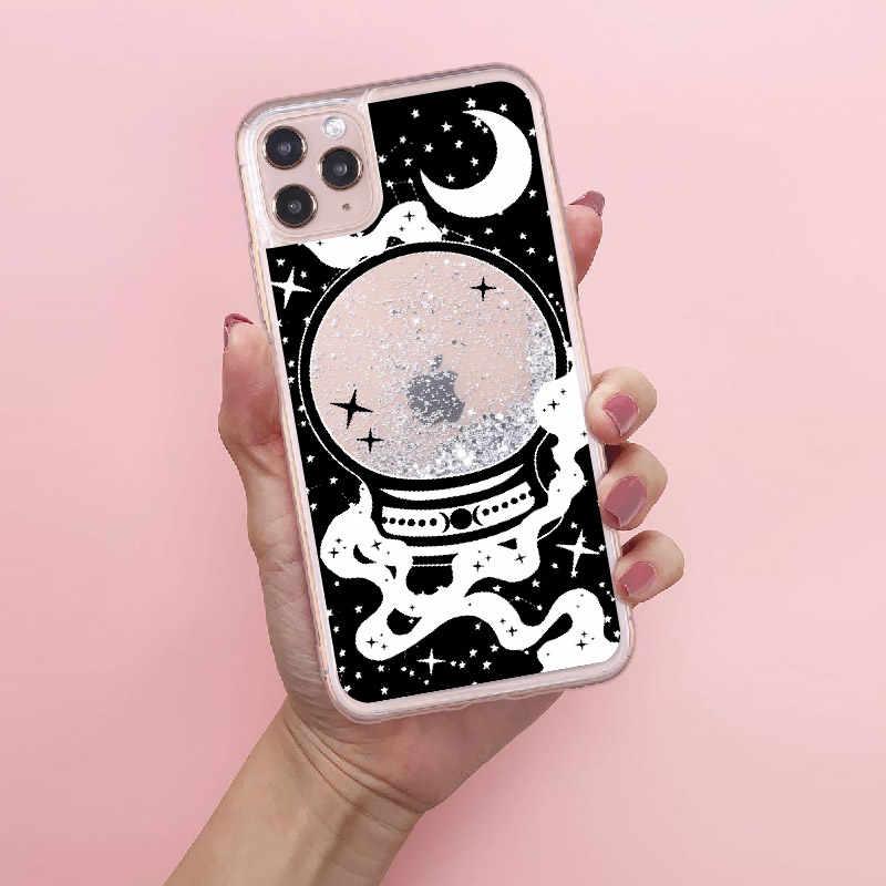 La magia de Halloween de bola de cristal líquido de brillo Glitter Real teléfono caso Fundas para iPhone 11 X XS X XR Pro Max 7 8 7 8Plus