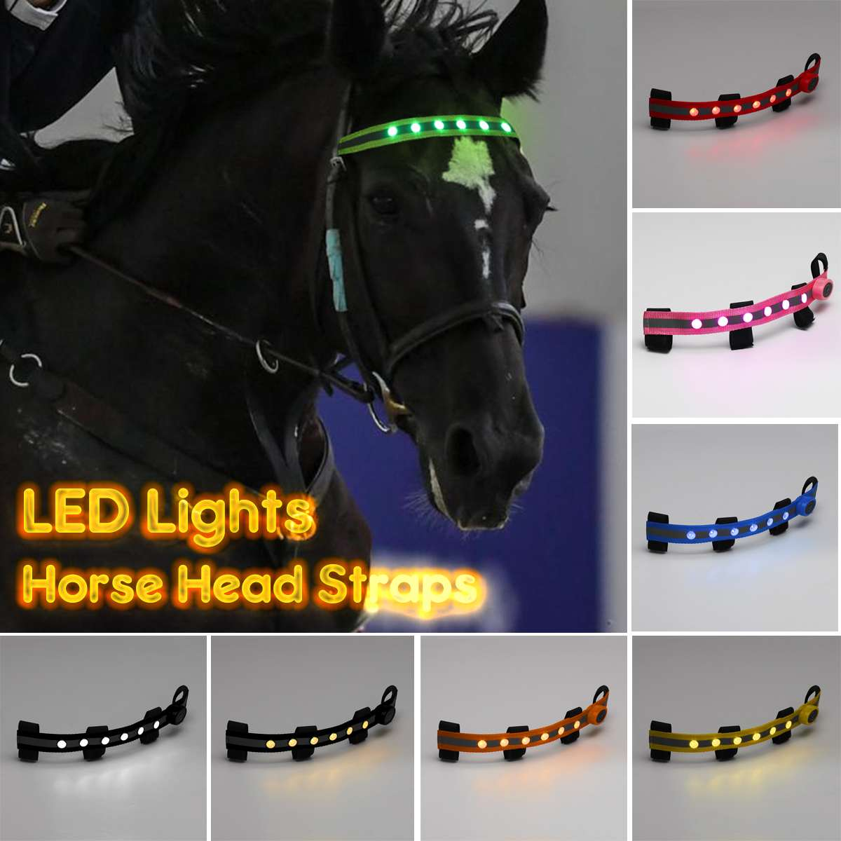 LED Horse Head Straps Equestrian Head Straps Night Visible Outdoor Flashing Belt Horse Riding Horse Headband Lights
