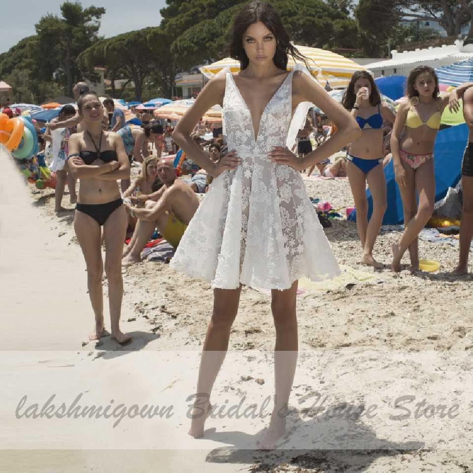 Lakshmigown בציר תחרה קצרה חתונת שמלת חוף Vestidos דה Novia Cortos 2020 עמוק V צוואר סקסי כלה חתונת מפלגה שמלות