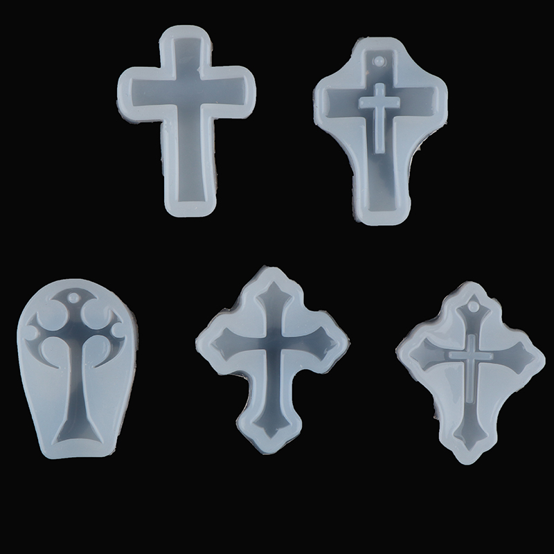 5styles Cross Resin Decorative Craft Silicone Mold For Epoxy Resin Jewelry Making Necklace Jewelry DIY Scrapbooking Tool