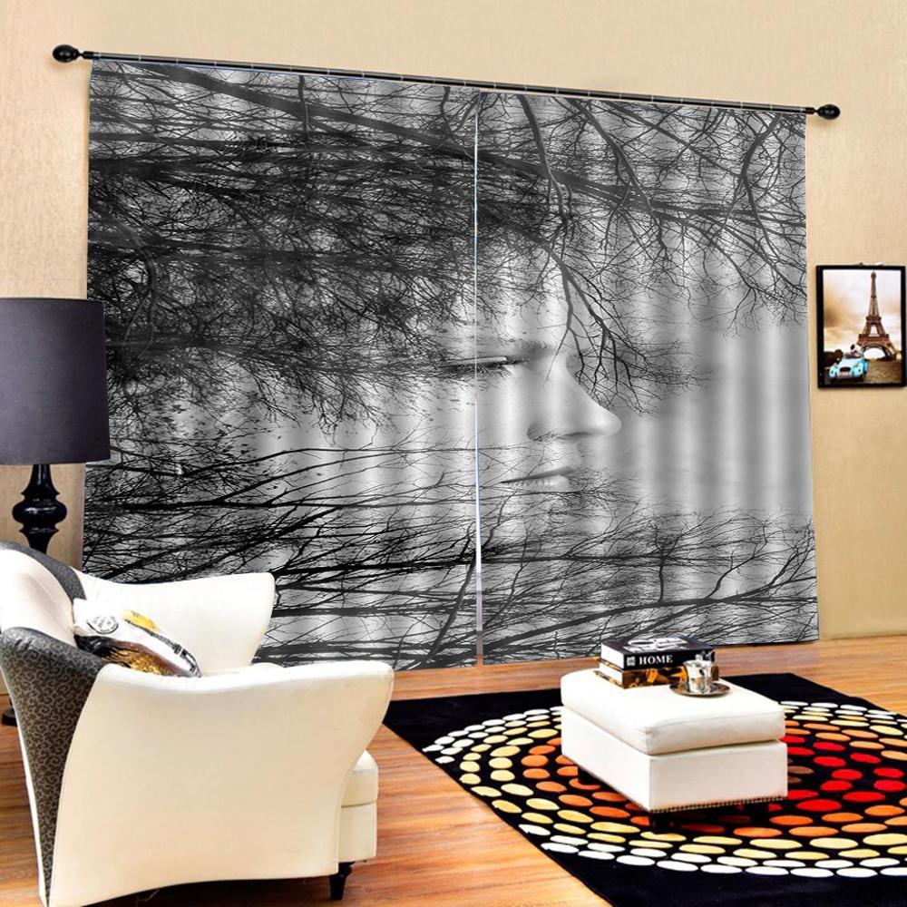 Cortina de ducha blanca y negra personalizada para decoración de ramas de árbol para la vida Natural otoño temática dormitorio cortina de la cara opaca - 2
