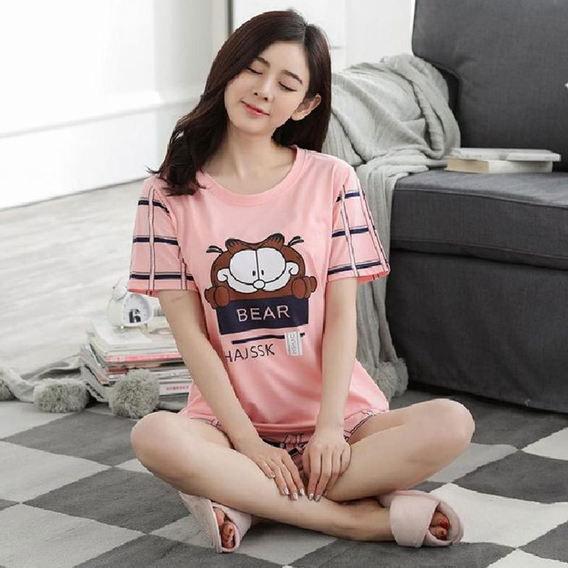Summer Sweet Cute Cartoon Animation Garfield Pajamas Female Summer Short Sleeve Ladies Home Leisure Suit Two-Piece Set