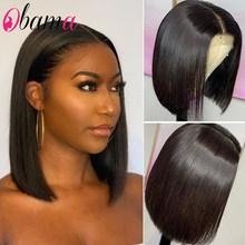 Human Hair Bob Wigs 4x4 Lace Closure Pre Plucked with Baby Hair Blunt Cut 8-16inch Lace Front Straight Bob Wig for Black Women