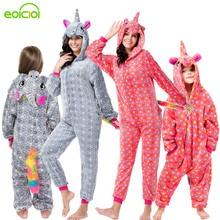 Women Kids Hooded Unicorn Pegasus Pajamas Set Soft Mother and Daughter Family Matching Clothes Winter Unicornio Panda Pyjamas
