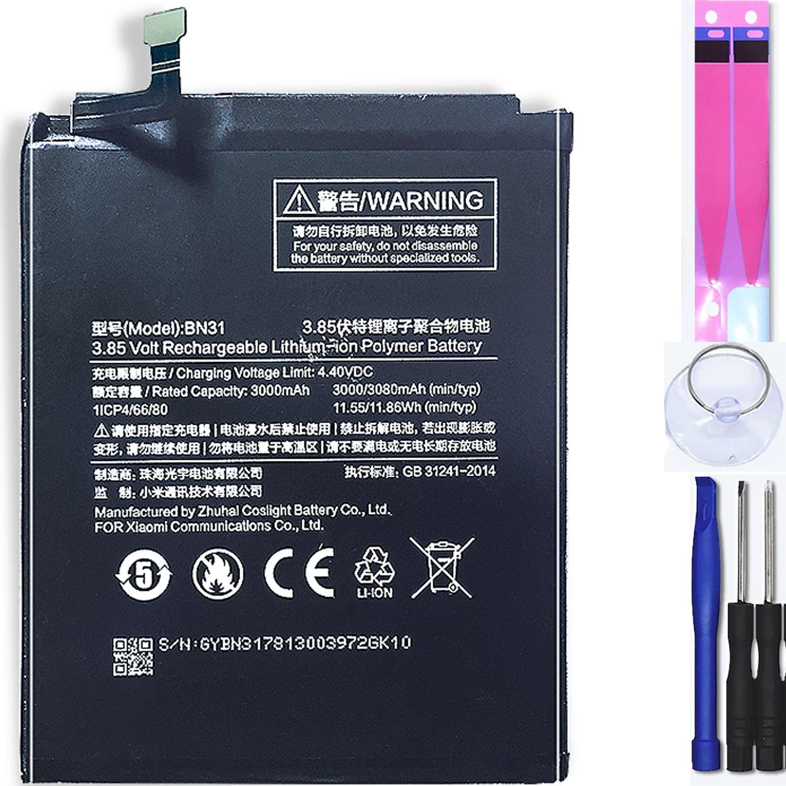 Аккумулятор для Xiaomi Mi A1 Redmi S2 Note 5A 5X 5A Pro S2 Y1 , Mpn Оригинал: Bn31