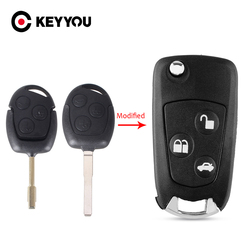 KEYYOU New Uncut Blank 3 Buttons Modified Folding Remote Key Flip Fob Shell For FORD FOCUS MONDEO Fiesta