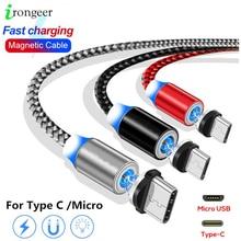 Manyetik şarj aleti kablosu hızlı şarj mikro USB tip C kablo iPhone için 11 Pro Max Samsung Xiaomi cep telefonu USB C mıknatıs tel