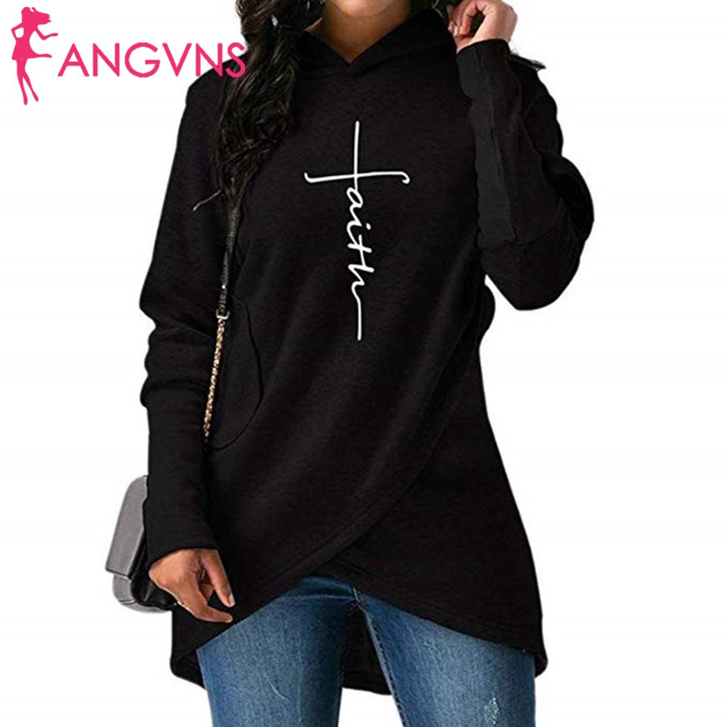 Women Fashion Hooded Long Sleeve Letter Pocket Irregular Causal Hoodies Letter, Faith Winter, Autumn
