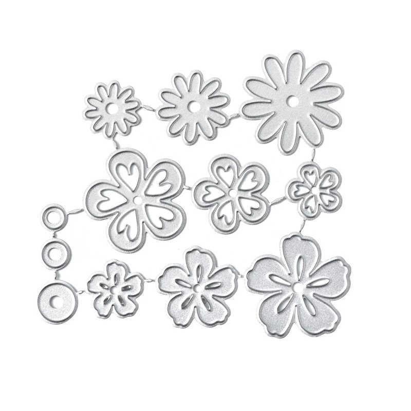 YaMinSanNiO 12 sztuk kwiaty Metal wykrojniki Daisy DIY szablony do cięcia papier typu kraft tworzenie kartek Scrapbooking wytłaczanie nowe 2020