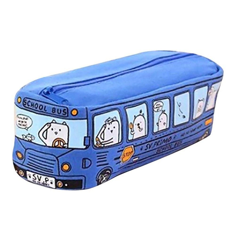 Cartoon Canvas Bus Pen Pencil Case Bag Box Storage Large Zipper School Kids FI