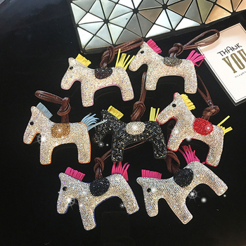 New Diamond Horse Keychain Girls Cute PU Leather Bag Ornaments Animal Key chains Bag Pendant Bag Charm Accessories new diamond horse keychain girls cute pu leather bag ornaments animal key chains bag pendant bag charm accessories