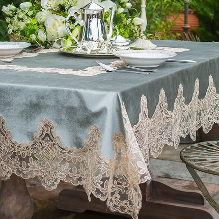 American Luxury Embroidered Tablecloth Gold Velvet Table Dining Table Cover Flower Table Cloth Lace Coffee Home Thicken