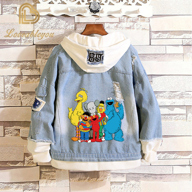 Hot Sale Sesame Street Denim Jacket Elmo Cosplay Spring Autumn Jeans Hooded Sweatshirt Men Women Costume Streetwear Coats