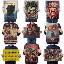 Cartel de película de comics de la Liga de la justicia Joker Harley Quinn, decoración Vintage, arte de pared, adornos de pared de papel Kraft, pegatinas de pared