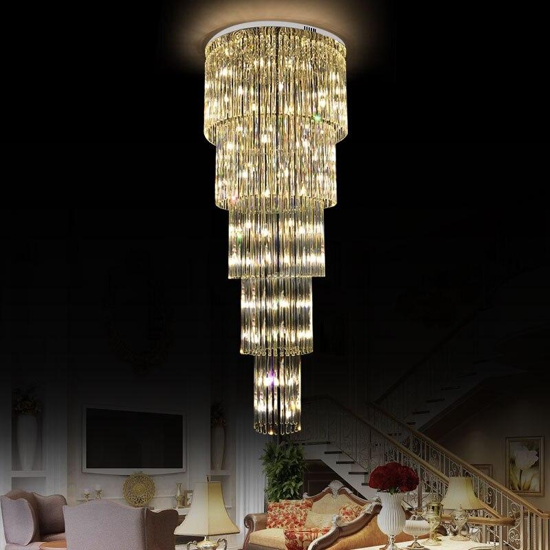 Современный Люстра светильник ing для гостиной Кристальный цилиндрический Креативный дизайн подвесной светильник лестница вилла отель теа
