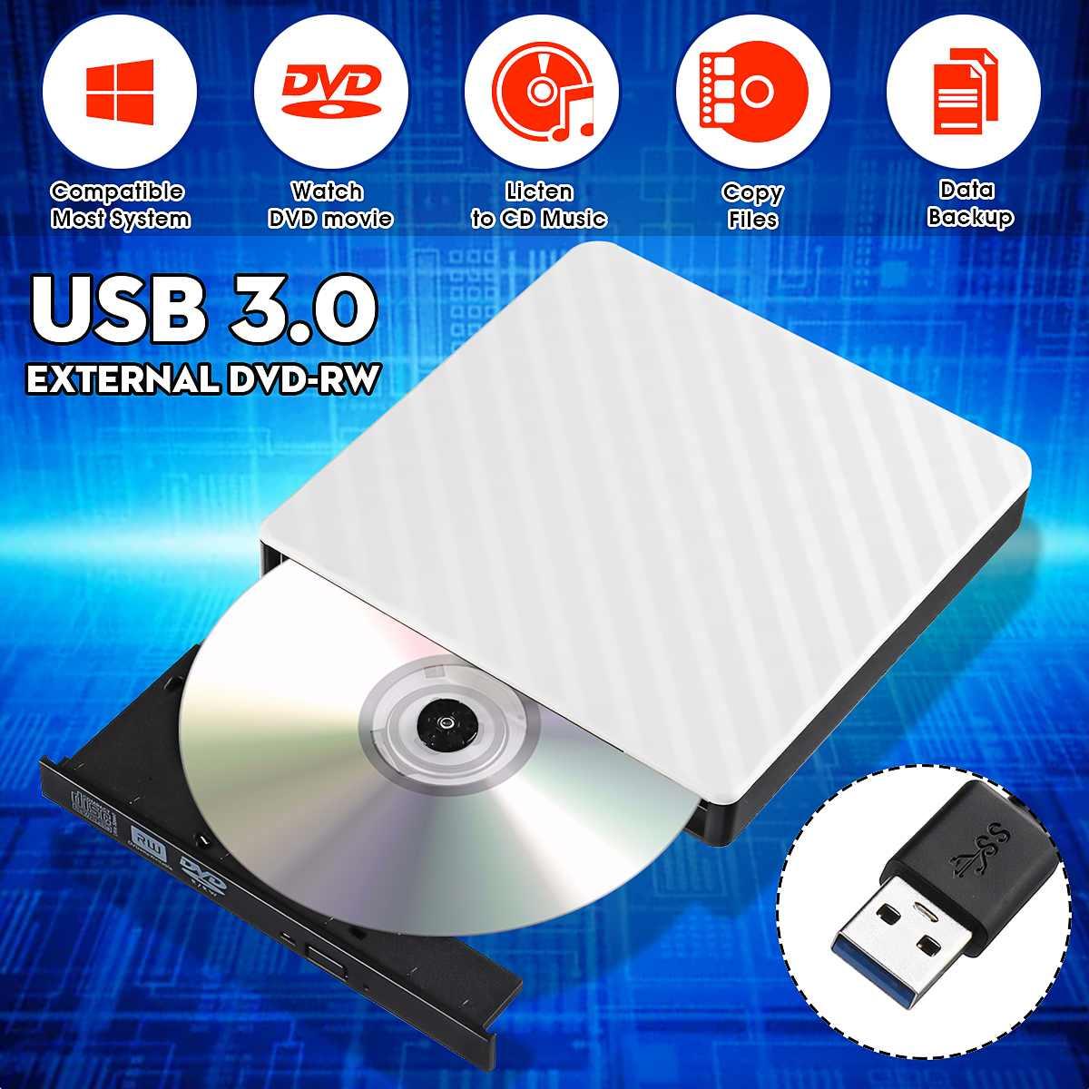 External USB 3.0 DVD RW CD Writer Slim Carbon Grain Drive Burner Reader Player For PC Laptop Optical Drive