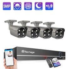 Камера наружного видеонаблюдения Techage, инфракрасная камера безопасности, 4 каналов, 5 млн. пикселей, H.265,  двусторонняя аудиосвязь, поддержка AI обнаружение человека, HDMI, POE, NVR, P2P IP