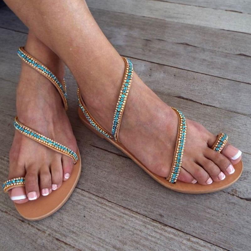 WOMENS LADIES ANKLE STRAP FLATS BEACH SANDALS GLADIATOR FLIP FLOPS SHOES SIZE