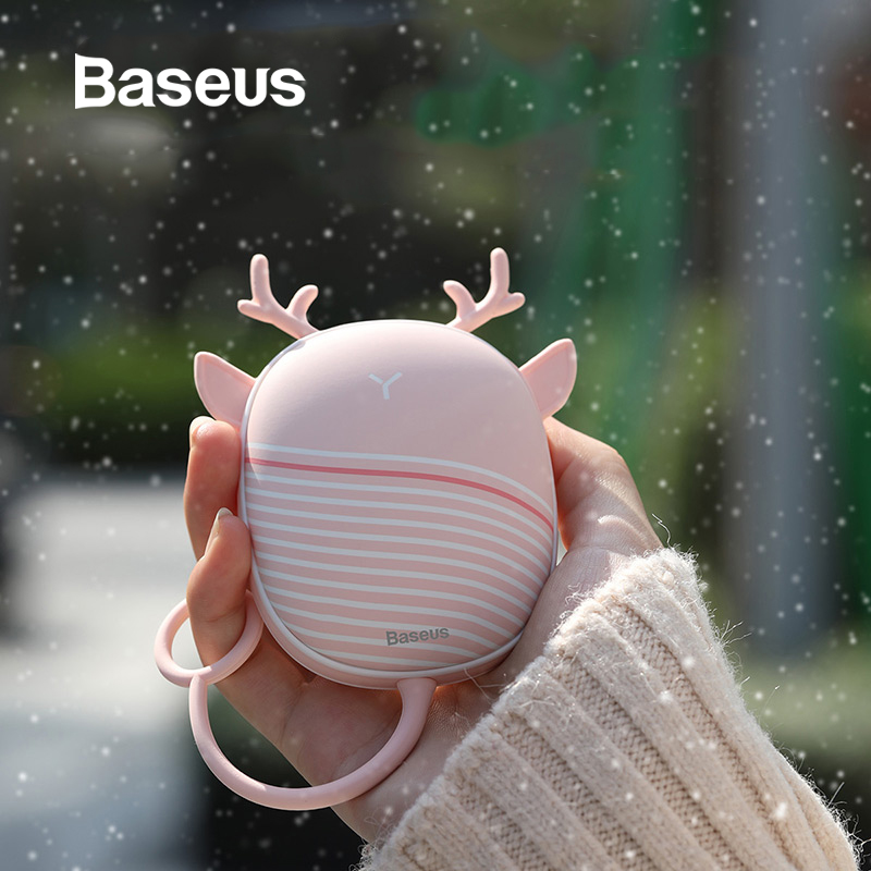 Baseus Heater Hand Warmer Heating Pad USB Rechargeable Hand Warmer Heater Pocket Mini Cartoon Power Bank Handy Heater With Lamp