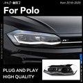 АКД стайлинга автомобилей для VW Polo фары 2019-2020 новые поло светодиодный фары DRL фара ближнего света дальнего света все светодиодный аксессуар...