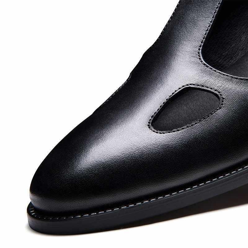 Yeni tasarımcı erkek Hollow Out yaz gladyatör sandalet 2020 sivri burun hakiki deri sandalet ofis adam iş nefes ayakkabı