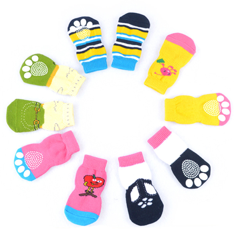 4pcs/Set Puppy Dog Knit Socks Anti-Slip Cotton Cute Cartoon Shoes For Small Dogs Autumn Winter Indoor Wear Slip On Paw Protector