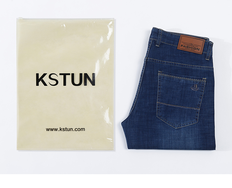KSTUN Jeans for Men Famous Brand Dark Blue Summer Stretch Business Casual Male Straight Classic
