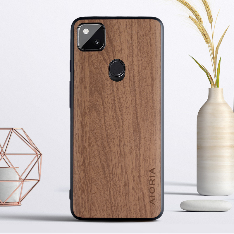 Vintage Woodlike Case For Google Pixel 5 4A 5G 4 XL Soft TPU Around The Edge Hard PC At The Back 3In1 Material