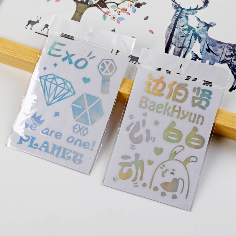 Kpop EXO Phone Laser Stickers Waterproof Flash PVC Stickers EXO Member Name Laser Gradient Ramp KPOP EXO Supplies